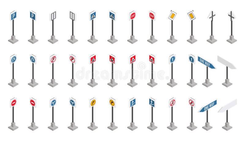 Gran selección de señales de tráfico en estilo isométrico ilustración del vector
