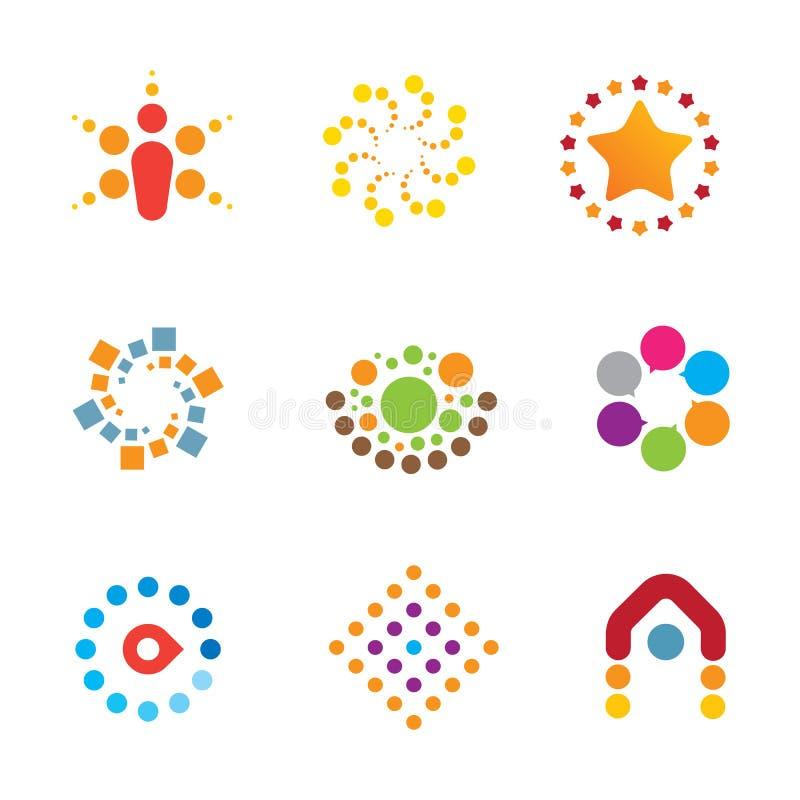 Gran sistema colorido endiablado del icono del logotipo de la interacción de la decoración de la creatividad stock de ilustración