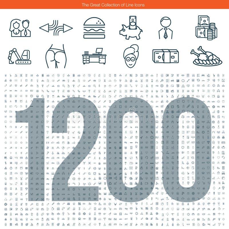 Gran sistema de la línea iconos stock de ilustración