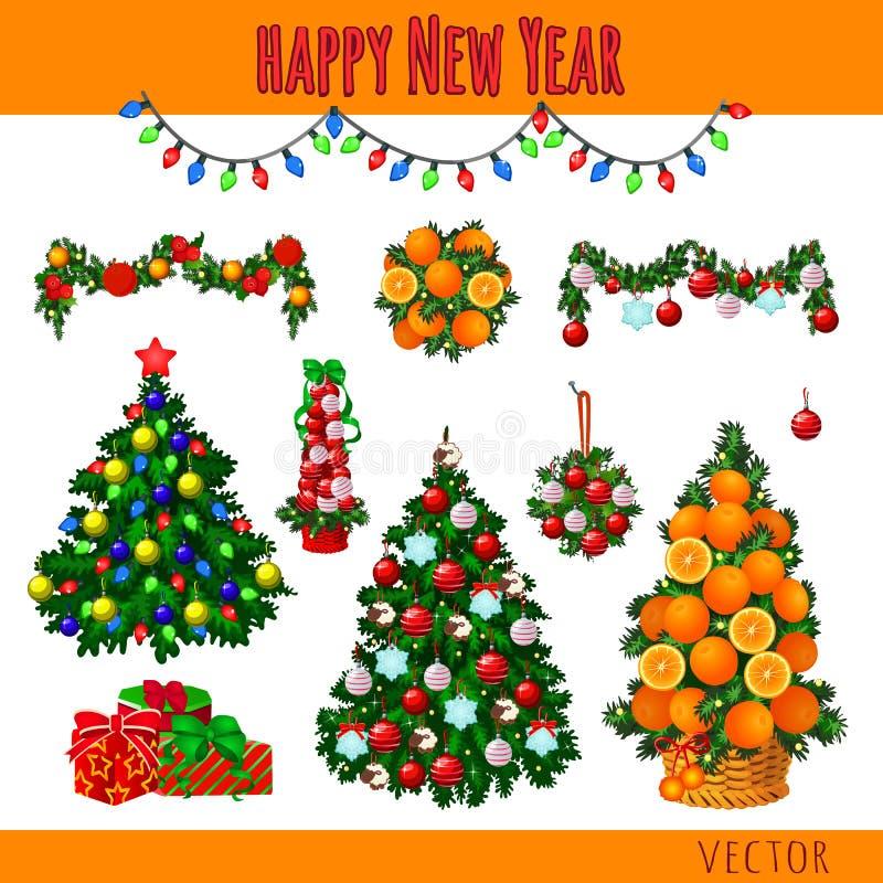 Gran sistema de las decoraciones de la Navidad, árboles y libre illustration