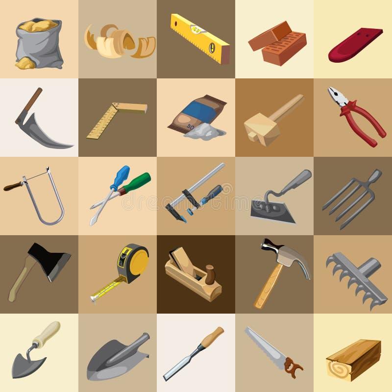 Gran sistema de los instrumentos, 25 elementos ilustración del vector