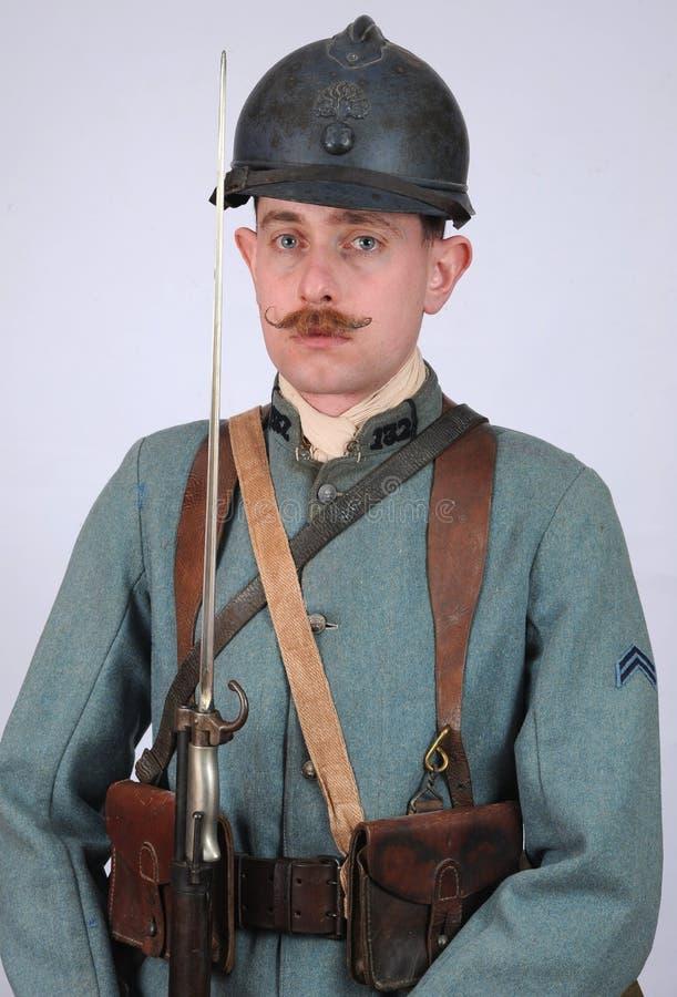 Gran soldado de infantería del francés de la guerra imágenes de archivo libres de regalías