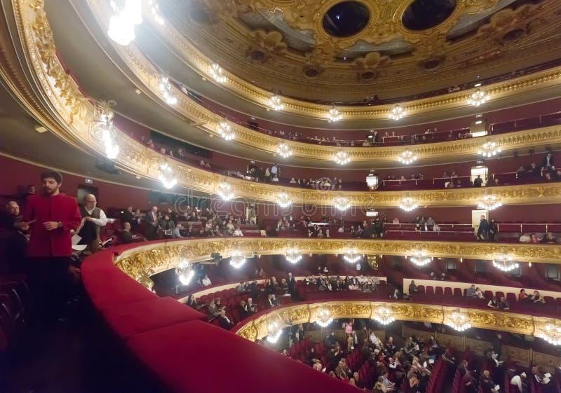 Gran Teatre del Liceu的内部 免版税库存图片