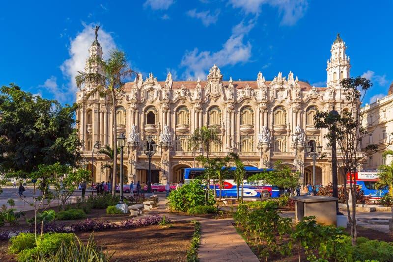 Gran Teatro de La Habana em Havana Cuba em Sunny Day claro fotografia de stock