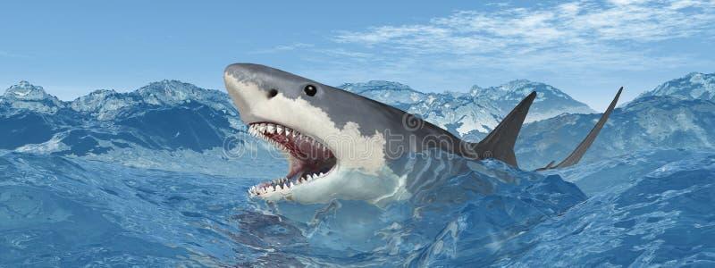 Gran tiburón blanco en el mar tempestuoso stock de ilustración