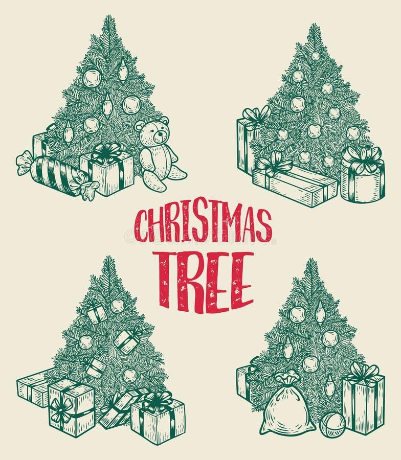 Gran-träd med gåvor på det nya året eller julhelgdagsaftonen stock illustrationer