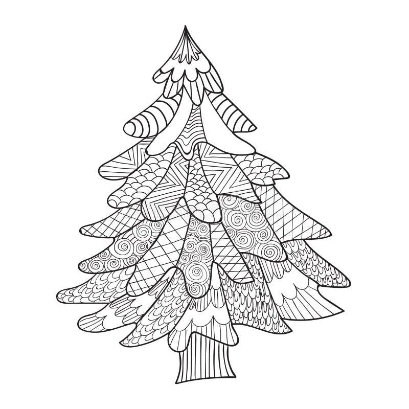Gran-träd Sida för färgläggningbok för vuxen människa stock illustrationer