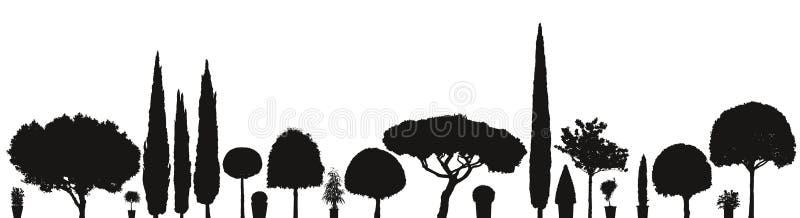Gran variedad de plantas y de árboles del vector ilustración del vector