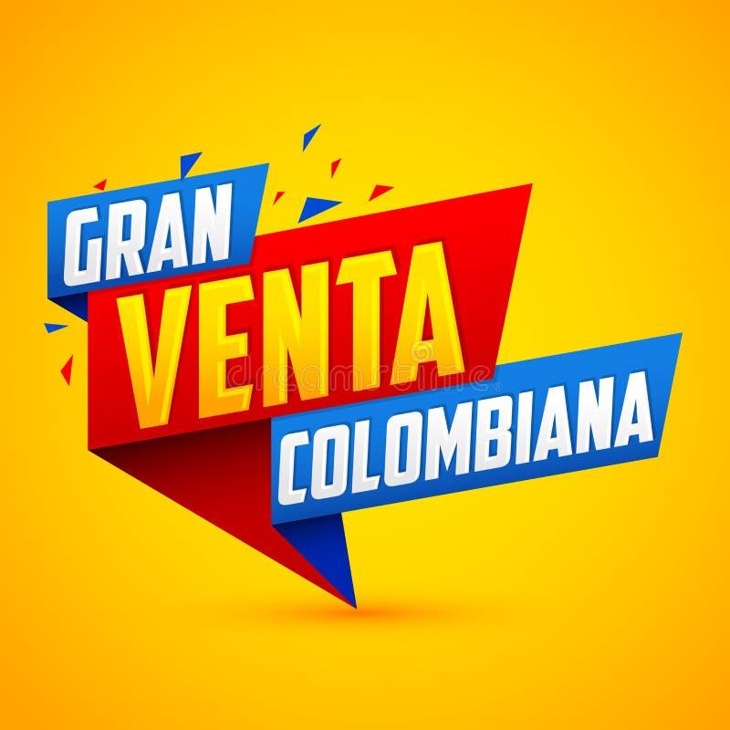 Gran venta Colombiana, spansk text för colombiansk stor försäljning, modernt baner för vektor stock illustrationer