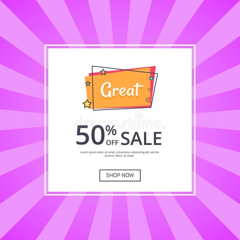 Gran venta 50 de la inscripción de la tienda ahora con la estrella stock de ilustración