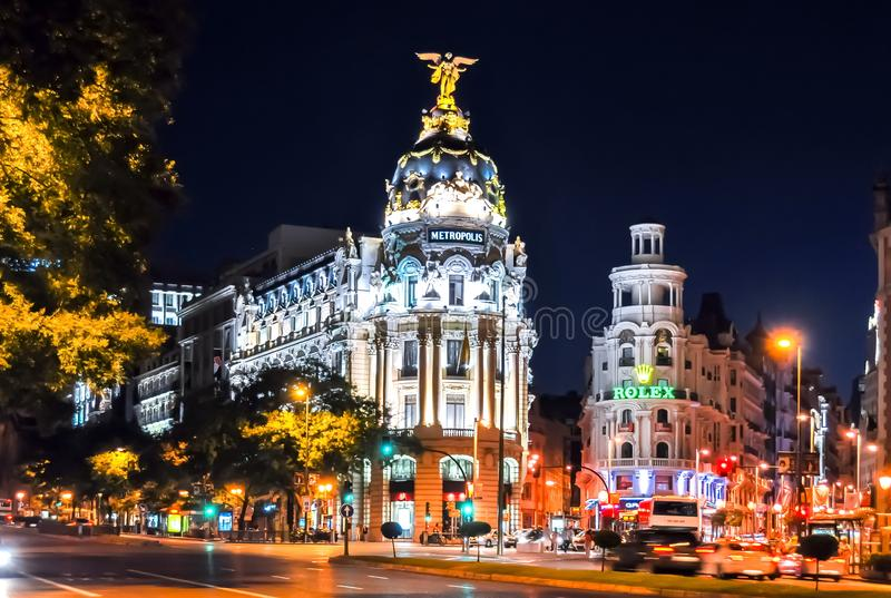 Gran Via central street of Madrid at night, Spain stock photography