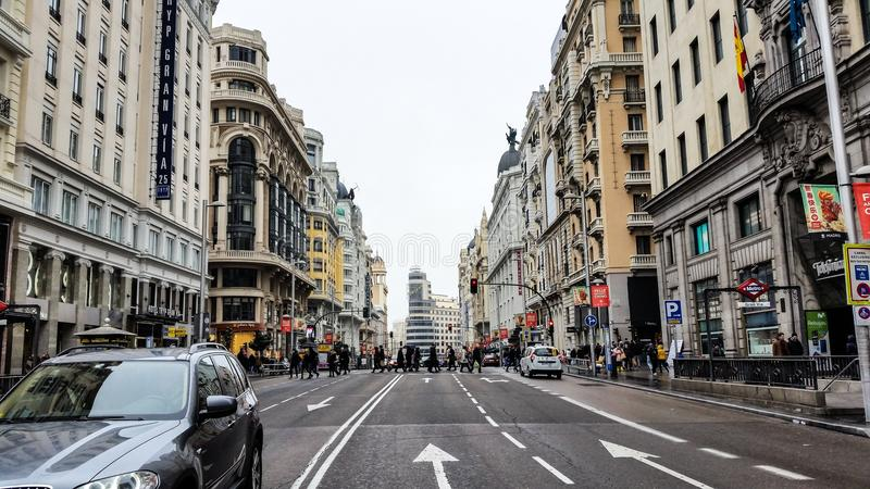 Gran via - Madri stock afbeelding