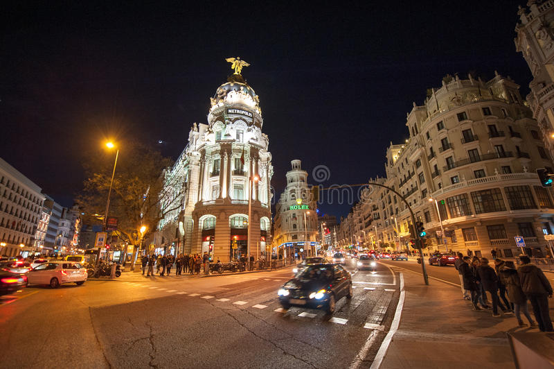 Gran via Madrid fotografia stock libera da diritti