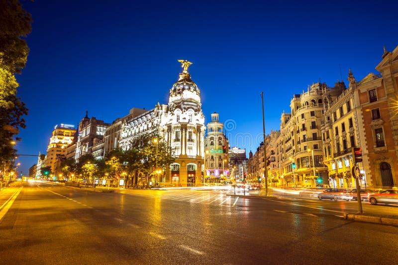 Gran Via Madrid. Gran Via, main shopping street in Madrid, Spain at dusk royalty free stock image