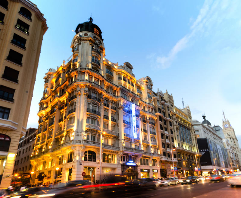 Gran Via, Madrid. 's most famous street at early evening. For articles about Madrid or Spain in general royalty free stock image