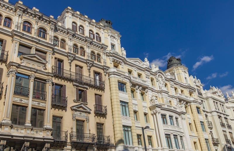 Gran Via in Madrid, Spain. Traditional buildings at Gran Via in Madrid, Spain stock photos