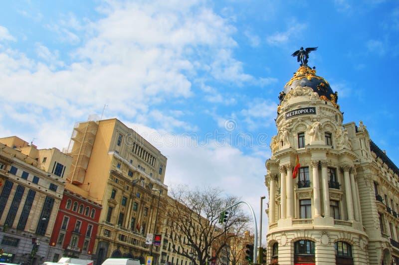 Gran via, Madrid, Spanje royalty-vrije stock fotografie