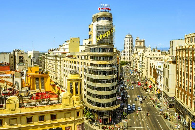 Gran via in Madrid, Spanje royalty-vrije stock afbeelding