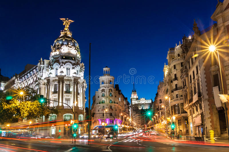 Gran via in Madrid, Spanje, Europa. stock fotografie