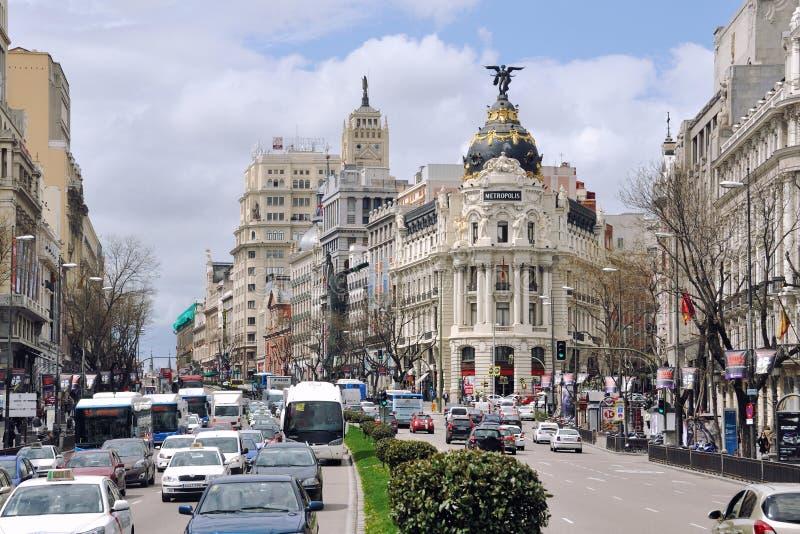 Gran via straat in Madrid royalty-vrije stock fotografie