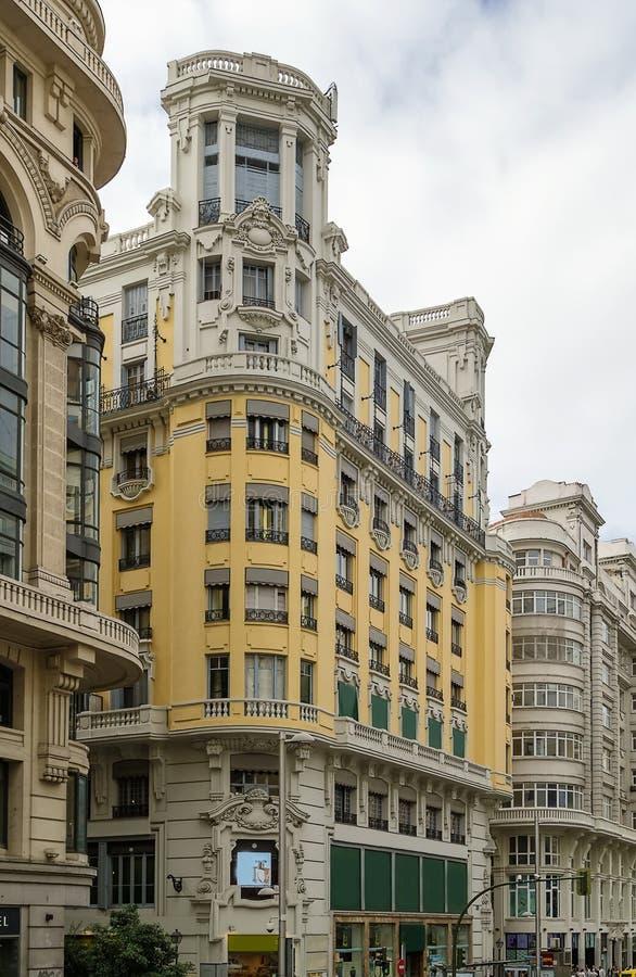 Gran via Straat, Madrid stock afbeeldingen