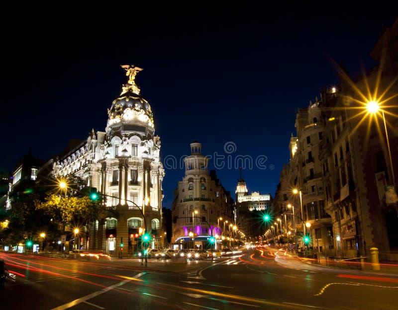 Gran via straat in Madrid, Spanje stock fotografie