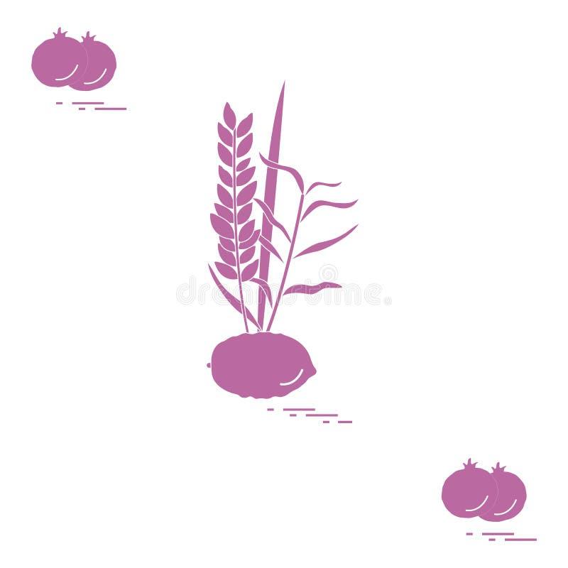 Granaatappel en Lulav - symbolische attributen van de vakantie van Sukkot Joodse tradities en symbolen stock illustratie