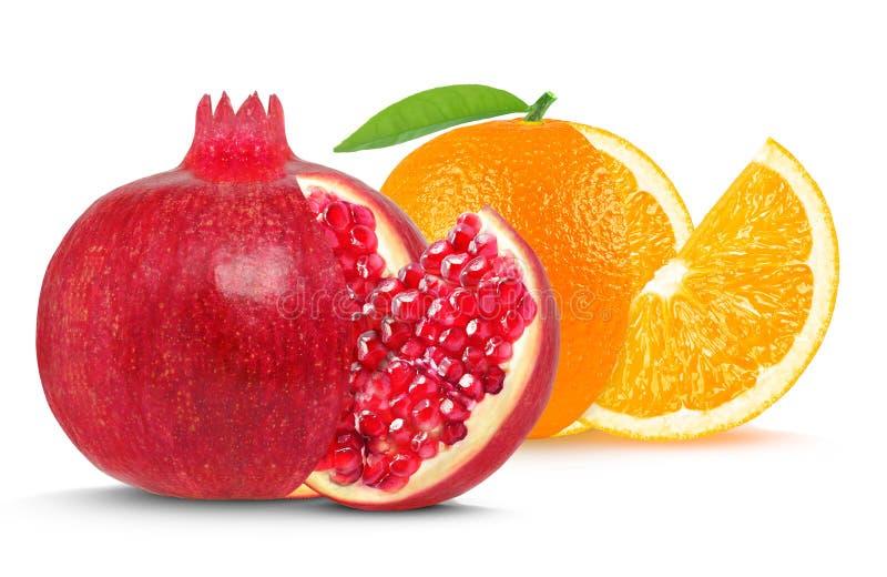 Granaatappel en sinaasappel royalty-vrije stock fotografie