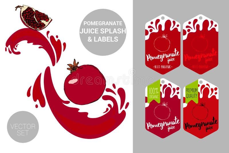 Granaatappelzaden met sapplonsen Het organische fruit etiketteert markeringen Kleurrijke granaatappelstickers royalty-vrije illustratie