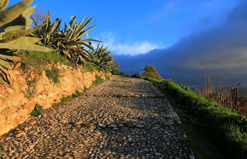 Granada. The ancient road in hills royalty free stock image