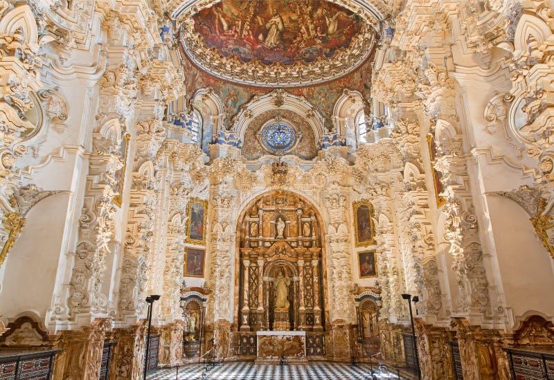 Granada - barokowa zakrystia w kościelnym Monasterio De Los angeles Cartuja obraz royalty free