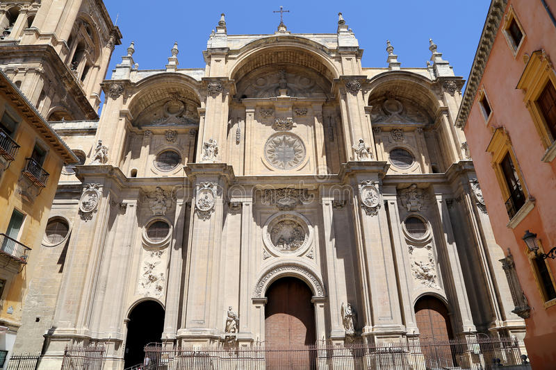 Granada Cathedral (Cathedral of the Incarnation) in gothic and spanish renaissance style stock images