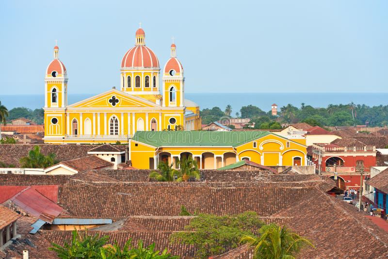 Granada cathedral and lake Nicaragua, Nicaragua. stock image