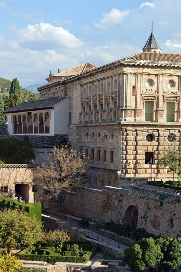 Granada - Charles V slott - Alhambra, Granada, Spanien arkivbilder