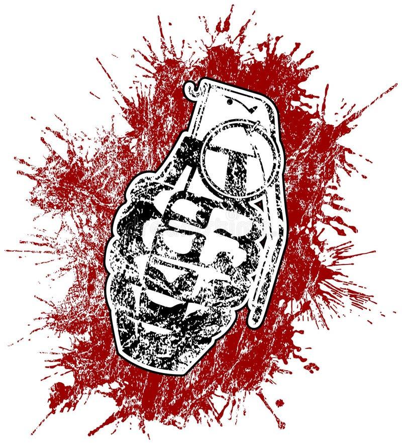 Granada com sangue splattered ilustração stock
