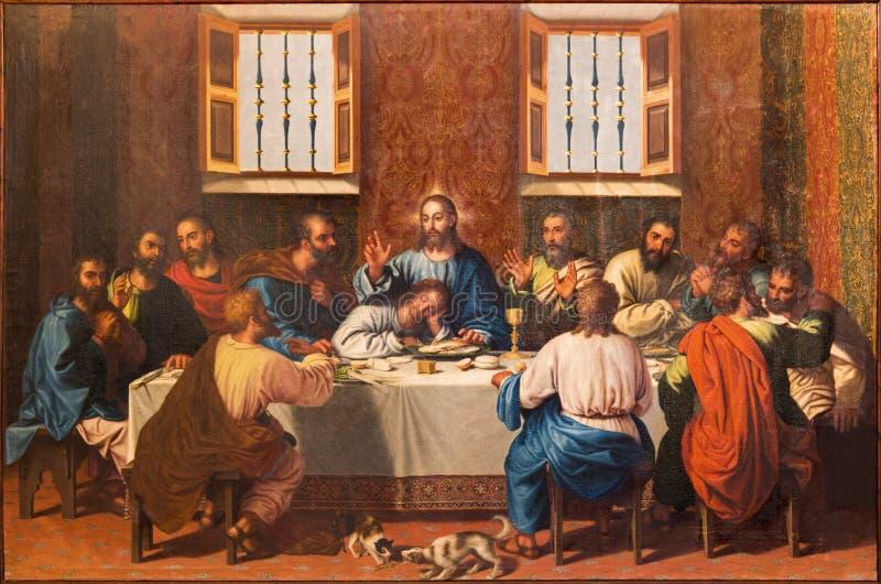 Granada - de Laatste Super pijn in Monasterio DE La Cartuja in eetzaal door Strijd Juan Sanchez Cotan (156 - 1627) stock afbeeldingen