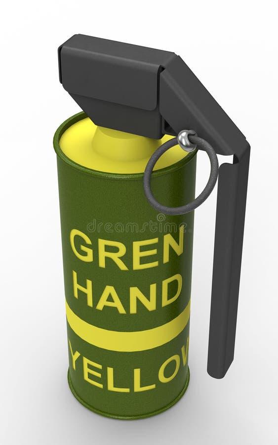 Granada de mano amarilla del humo libre illustration