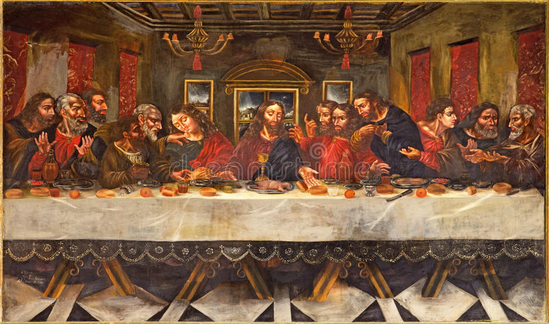 Granada - die Malerei des letzten Abendessens von Juan de Sevilla Romero (1643 - 1695) im Refektorium der Kirche Monasterio de Sa lizenzfreies stockfoto