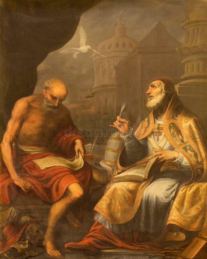 GRANADA, ESPAÑA: Pintura de papa Gregory I doctor de St Jerome y del St de la iglesia católica del oeste en el Monasterio de San  foto de archivo libre de regalías