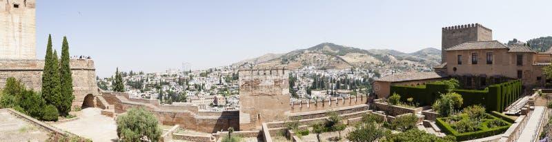 Granada, Espanha, paisagem do panorama de Alhambra fotografia de stock