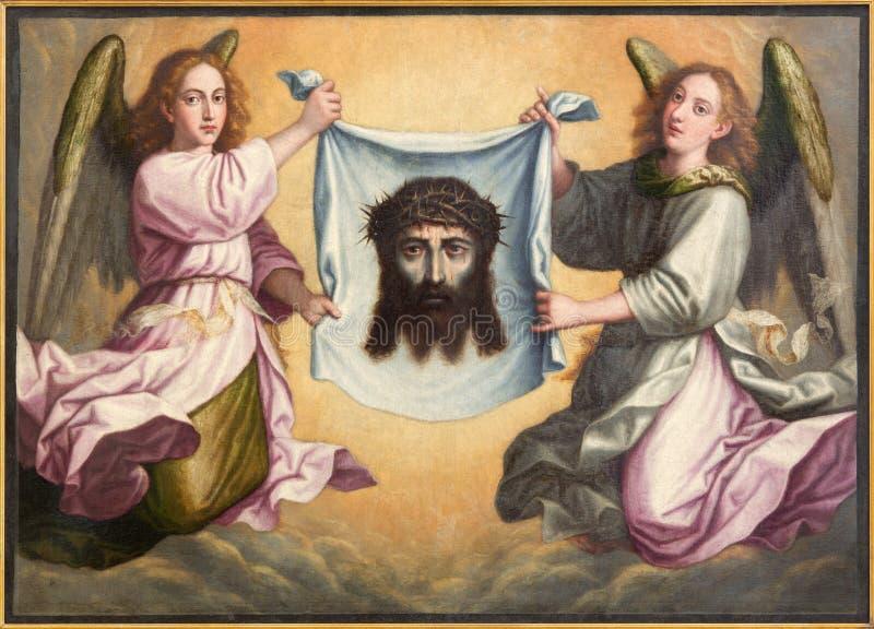 Granada - framsidan av Jesus Christ målarfärg Santa Faz i Monasterio de la Cartuja i Sala de San Pedro I San Pablo arkivfoton