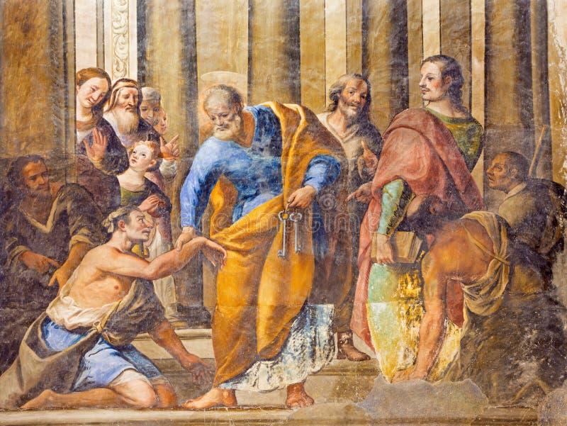 Granada - The fresco of scene as St Peter Healing the Cripple in the church Monasterio de San Jeronimo by Juan de Medina. GRANADA, SPAIN - MAY 29, 2015: The stock image