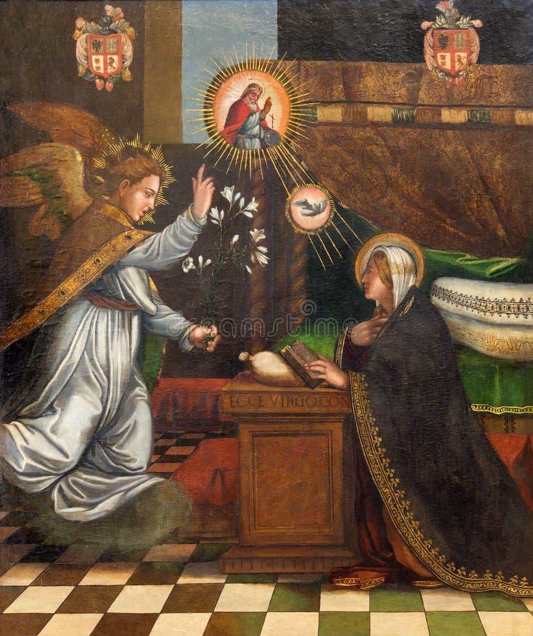 Granada - het schilderen van Aankondiging in kerk Monasterio DE La Cartuja door onbekende kunstenaar in Sala Capitular stock afbeeldingen