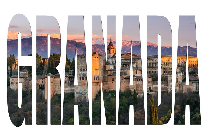 Granada letters isolated with Alhambra image stock photography