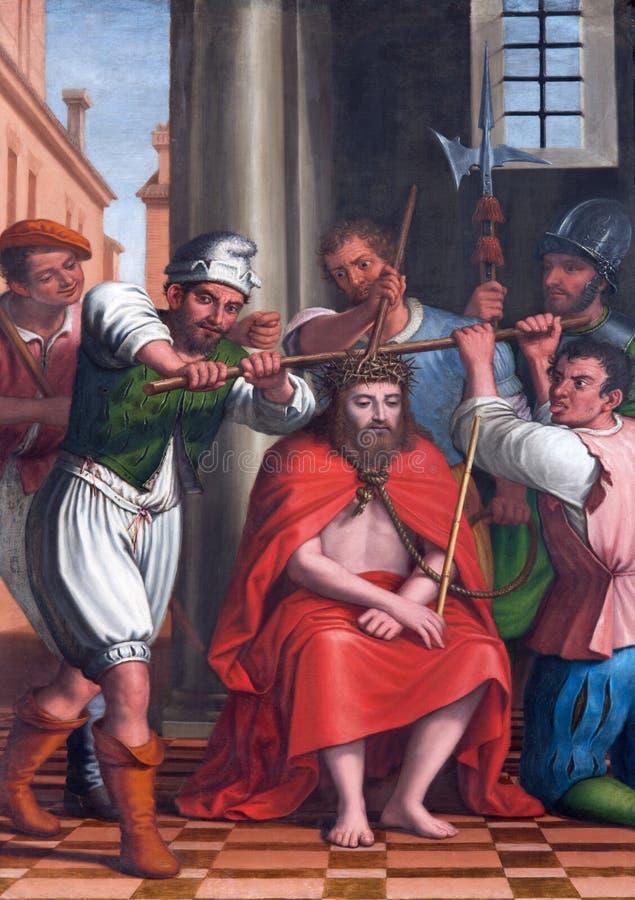 Granada - målningen av tortyr av Kristus från skepp av kyrkliga Monasterio de la Cartuja royaltyfri bild