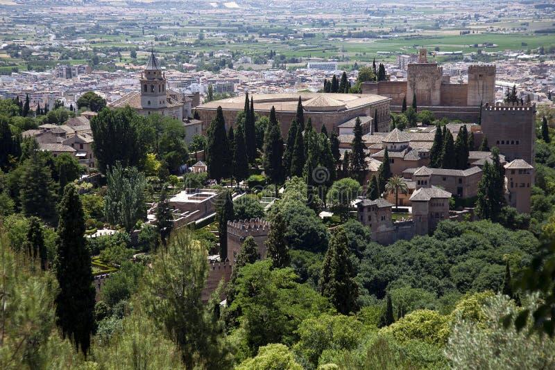 Granada met Alhambra, mooie historische stad in het hart van Andalusia, Spai met Alhambra royalty-vrije stock fotografie