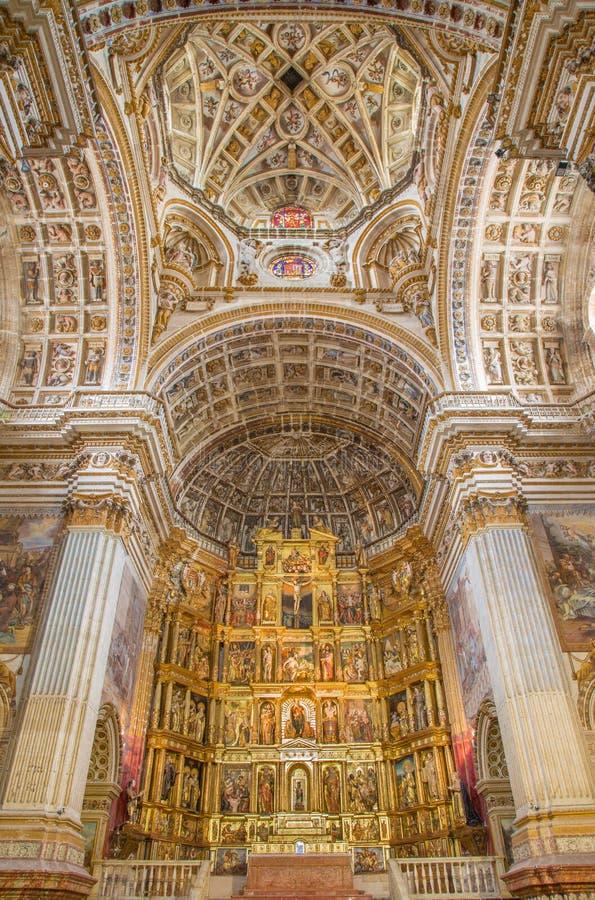 Granada - The nave of church Monasterio de San Jeronimo. GRANADA, SPAIN - MAY 29, 2015: The nave of church Monasterio de San Jeronimo royalty free stock images
