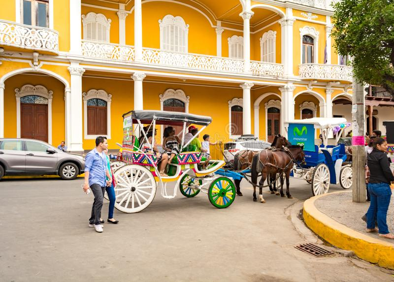 Horse Carriage Rides for the Tourists in Granada royalty free stock photos