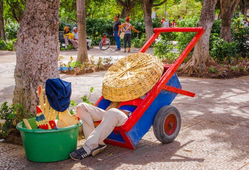 GRANADA, NICARAGUA, MAYO, 14, 2018: Hombre no identificado que toma una siesta dentro de un carro de madera y que la cubre del so fotografía de archivo