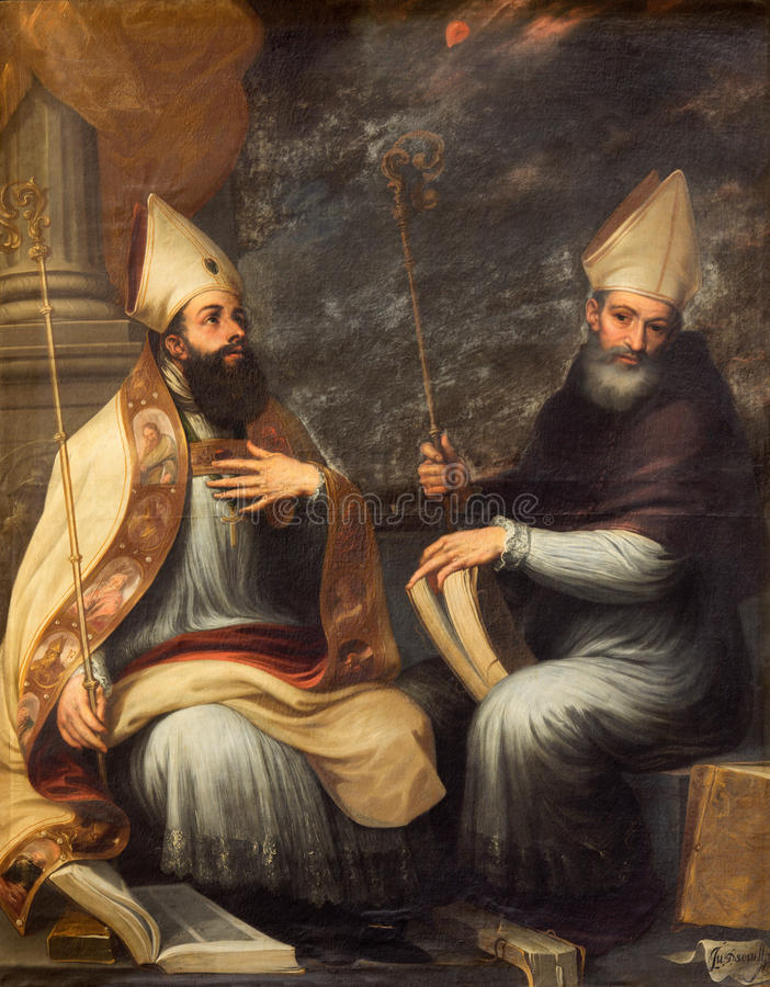 Granada - paint of St. Ambrose and St. Augustine the Doctors of the west catholic church in the church Monasterio de San Jeronimo royalty free stock photo